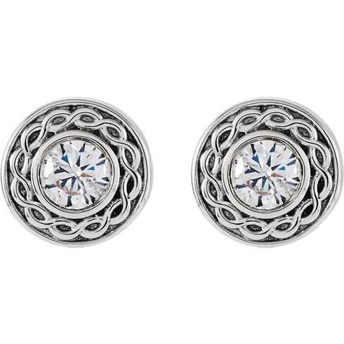 Filigree Halo Design Round Cut Diamond Stud Earrings