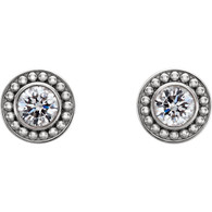Beaded Halo Design Round Cut Diamond Stud Earrings