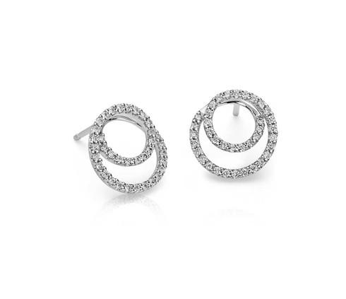 Double Loop Diamond Circle Earrings