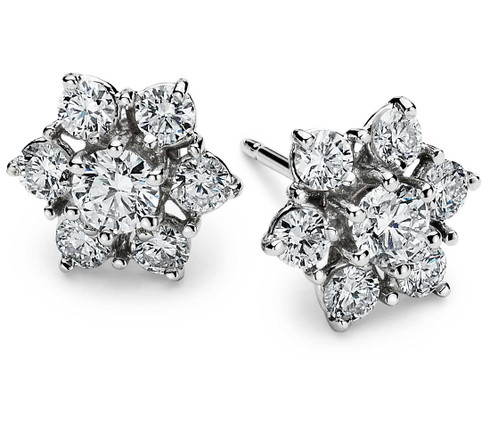 Blooming Flower Diamond Stud Earrings