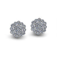 Cluster Design Diamond Stud Earrings