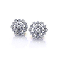 Floral Spray Bezel Set Diamond Stud Earrings
