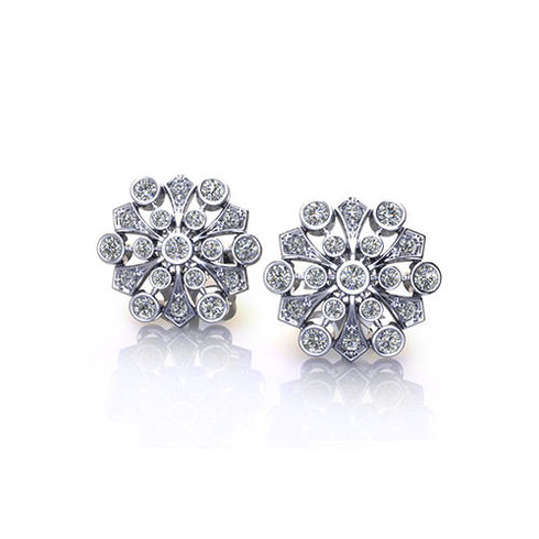 Floral Spray Bezel Set Diamond Stud Earrings