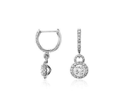 Round Halo Drop Diamond Dangle Earrings