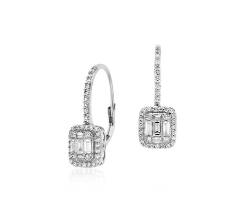 Baguette Illusion Setting Diamond Dangle Earrings