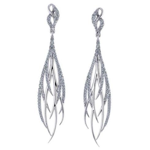 Delicate Feather Design Diamond Earrings
