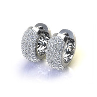 Five Row Pave Set Cluster Hoop Earrings