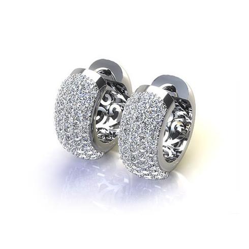 Five Row Pave Set Cluster Hoop Earrings