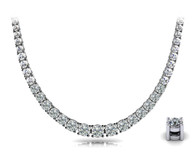Four Prong Round Diamond Graduated Tennis Necklace