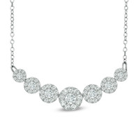 Seven Cluster Frame Diamond Necklace
