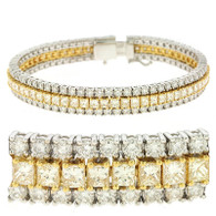 8.00ctw Two Tone Triple Row Round And Princess Cut Diamond Tennis Bracelet