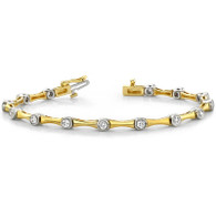 1.00ctw Two Tone Bezel Set Diamond Tennis Bracelet