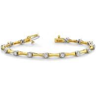 1.00ctw Two Tone Bezel Set Diamond Tennis Bracelet