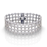 4.00ctw Loop Linked Bezel Set Round Diamond Bracelet