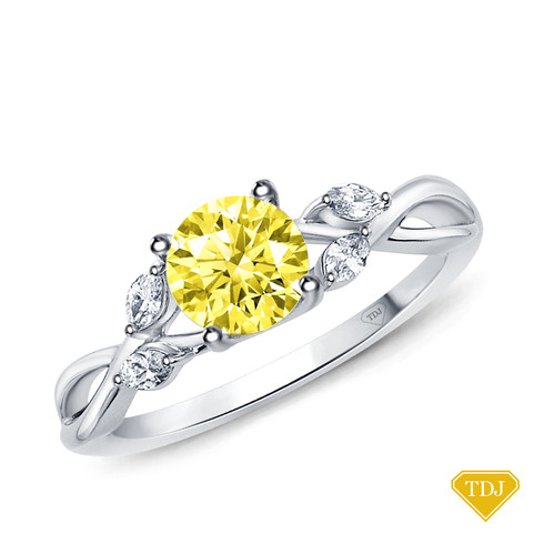 14K White Gold Vine and Leaves Style Marquise Bud Diamond Engagement Ring Yellow Sapphire Top View