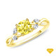 14K White Gold Twisted Vine Diamond Engagement Ring Yellow Sapphire Finger View