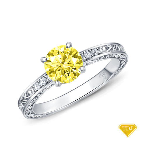 14K White Gold Antique Scroll Engraving Engagement Ring Yellow Sapphire Top View
