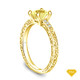 14K Yellow Gold Delicate Tapered Pave Set Engagement Ring Yellow Sapphire Top View