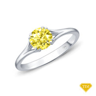 14K White Gold A Contemporary Interwine Ribbon Diamond Solitaire Ring Yellow Sapphire Top View