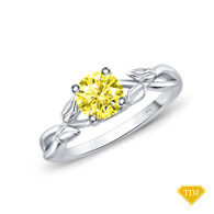 14K White Gold Interwine Budding Style Nature Inspired Solitaire Ring Yellow Sapphire Top View