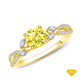 14K White Gold A Vine Inspired Marquise and Round Bud Diamond Engagement Ring Yellow Sapphire Top View