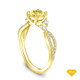 14K Yellow Gold Marquise Yellow Sapphire Accents - Leaves  and Vine Style Engagement Ring Yellow Sapphire Top View