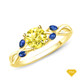 14K White Gold A Nature Inspired Leaves Marquise Yellow Sapphire & Round Diamond Ring Yellow Sapphire Finger View