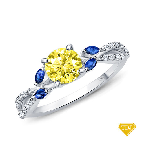 14K White Gold A Nature Inspired Leaves Marquise Yellow Sapphire & Round Diamond Ring Yellow Sapphire Top View