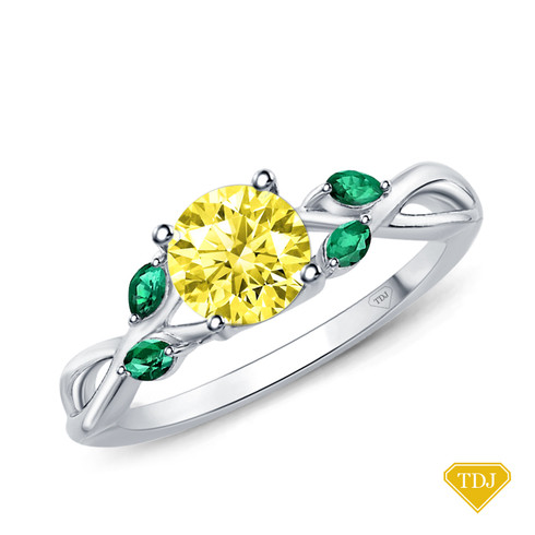 14K White Gold Marquise Green Emerald Accents - Leaves and Vine Style Engagement Ring Yellow Sapphire Top View