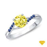 14K White Gold Delicate Tapered Pave Sapphire Engagement Ring Yellow Sapphire Top View