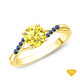 14K White Gold Half Way Accents Diamond Engagement Ring Yellow Sapphire Finger View