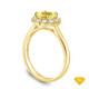 14K Yellow Gold Flower Inspired Halo Accents Engagement Ring Yellow Sapphire Top View