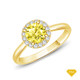 14K White Gold French Pave Set Square Halo Diamond Engagement Ring Yellow Sapphire Finger View