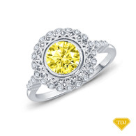14K White Gold An Intricate Antique Vintage Syle Diamond Engagement Ring Yellow Sapphire Top View