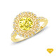14K White Gold Twisted Shanks Scalloped Pave Set Engagement Ring Yellow Sapphire Finger View