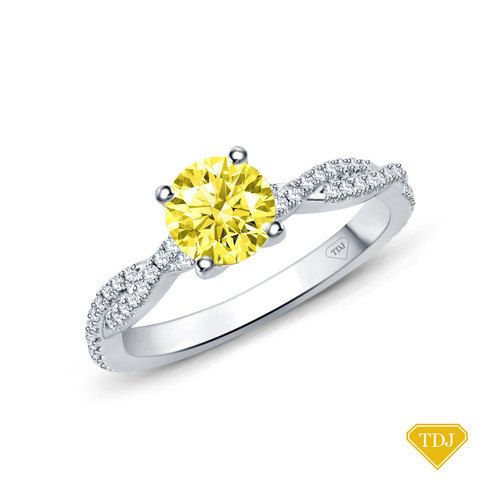 14K White Gold Twisted Shanks Scalloped Pave Set Engagement Ring Yellow Sapphire Top View