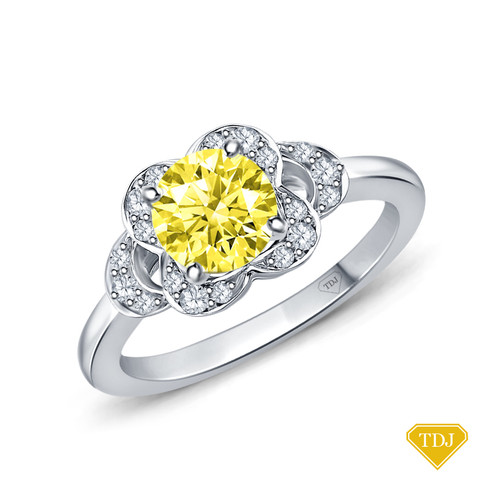 14K White Gold Floral Petal Design Diamond Engagement Ring Yellow Sapphire Top View