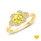 14K White Gold Solitaire Ring Claw Prong Flower Petal Basket Design Yellow Sapphire Finger View