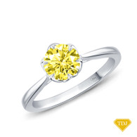 14K White Gold Solitaire Ring Claw Prong Flower Petal Basket Design Yellow Sapphire Top View