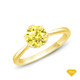 14K White Gold Tapered Style Baguette Side Stones Engagement Ring Yellow Sapphire Finger View