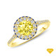 14K White Gold Adorned Scroll Engarving Trio Diamond Engagement Ring Yellow Sapphire Finger View