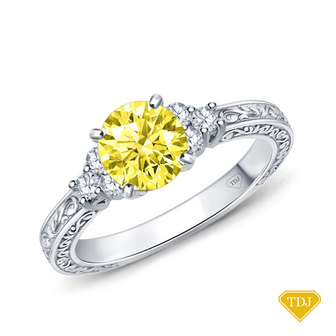 14K White Gold Adorned Scroll Engarving Trio Diamond Engagement Ring Yellow Sapphire Top View