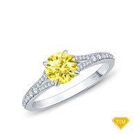 14K White Gold Diamond Accents Set in a Split Shank Setting Yellow Sapphire Top View