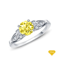 14K White Gold A Vintage Milgrain Style Diamond Engagement Ring Yellow Sapphire Top View