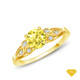 14K White Gold Split Shank with Halo Diamond Accents Setting Yellow Sapphire Finger View
