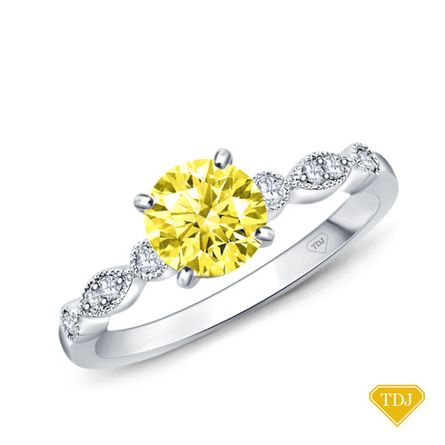 14K White Gold A Marquise Style Setting With Detailed Milgrain Yellow Sapphire Top View