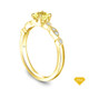 14K Yellow Gold Halo Accents With Intricate Milgrain Design Setting Yellow Sapphire Top View