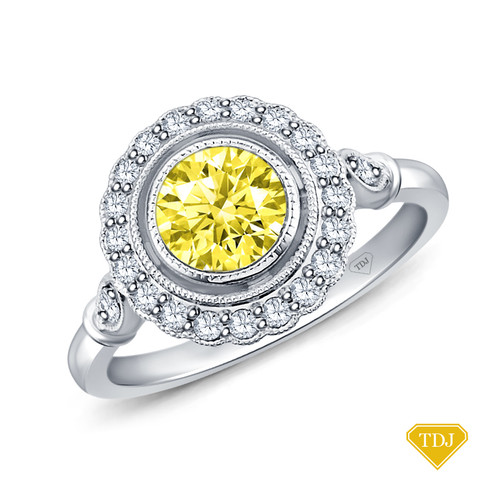 14K White Gold Halo Accents With Intricate Milgrain Design Setting Yellow Sapphire Top View