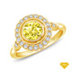 14K White Gold Kite Shape French Pave Set Halo Accents Setting Yellow Sapphire Finger View