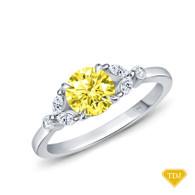 14K White Gold Nature Inspired Leave Design Marquise and Round Side Stones Engagement Ring Yellow Sapphire Top View